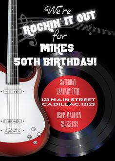 Rock n Roll Men's Birthday Invitations • Rockin' 50th Birthday Invitation • Any…