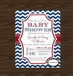 Red, white and blue nautical themed baby shower invite. Red and blue chevron. Order now on Etsy at EmandMParties
