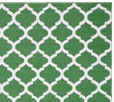 Becca Tile Reversible Indoor/Outdoor Rug - Green | Pottery Barn