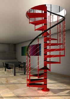 Escalera de caracol AKUA de Idealkit.es Escalera de interior de caracol modular con peldaños, eje y barrotes metálicos y pasamanos sintético color negro. Con tiras antideslizantes en los peldaños. Baranda H1 compuesta por balaustres metálicos y pasamanos sintético. Acabada pintada al horno Color Gris plata, negro antracita o blanco. http://www.idealkit.net/