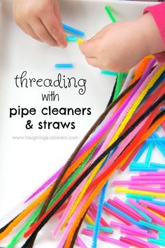Simple threading activity using cut straws and pipe cleaners. #finemotor #finemotorskills #preschoolactivity #kidsplay #kidsplaying #threading #pipecleaners #straws #toddlers #preschooler #earlyyears