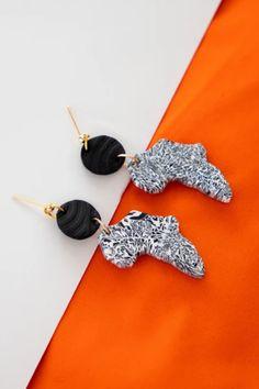 Awuwuan Map of Africa Earrings – Awuwuan Store Diy African Jewelry, African Earrings, Ethnic Jewelry, Coral Jewelry, Diy Jewelry, Clay Earrings, Stud Earrings, Africa Map, Gold Earrings Designs