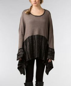 Look what I found on #zulily! Taupe & Black Sidetail Sweater by Dalin #zulilyfinds