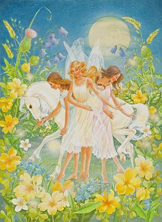Fairies And A Full Moon Print By Lynn Bywaters.