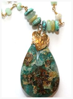 Chrysocolla and Peruvian Opal Necklace on Chrysoprase chain.
