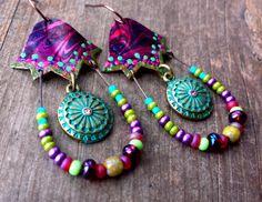 Unique boho earrings trippy jewelry lotus earrings lotus by anainc