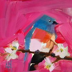 Bluebird no. 34 original bird oil painting by Angela Moulton