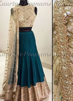 Dark Green Lehenga Choli With Golden Choli at Zikimo