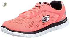 Skechers Flex Appeal Love Your Style Womens Lace Up Athletic Sneakers Hot Pink/Black 8.5 - Skechers sneakers for women (*Amazon Partner-Link)