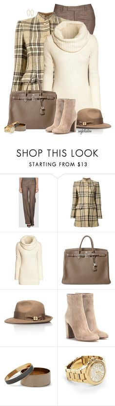 """""""50 Shades of Beige"""" by angkclaxton ❤ liked on Polyvore featuring Alberto Biani, Hermès, H&M, Tory Burch, Gianvito Rossi, J by Jasper Conran, Michael Kors, Kendra Scott, women's clothing and women's fashion"""