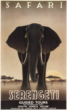 My favorite mammals + vintage travel poster = happiness. Serengeti by Steve Forney