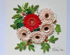 Quilled flower star of Bethlehem  Paper Flower  Cross  wall