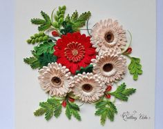 Customized flower  Quilling wall art  Quilled flower  paper