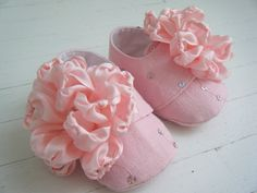 Pink Baby Shoes With Silk Flower, Baby Girl Booties 'Peony' by BobkaBaby. $60.00, via Etsy.