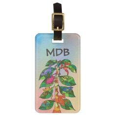 Mexican Frog Tree of Life Watercolor Monogram Luggage Tag - initial gift idea style unique special diy