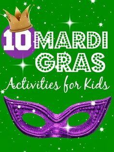 10 fun Mardi Gras Activities for kids! A great place to start planning a kid friendly Mardi Gras Party! Mardi Gras Activities, Craft Activities For Kids, Learning Activities, Activity Ideas, Winter Activities, Family Activities, Outdoor Activities, Mardi Gras Carnival, Mardi Gras Party