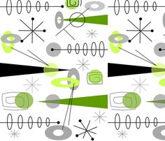 Mid-Century Atomic Lime fabric by egnatz on Spoonflower - custom fabric