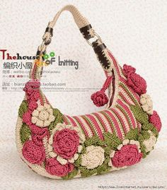 Artesanías de Lourdes: Bolsa de Crochet Estilo Fat Bag