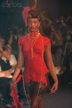Naomi Campbell for Christian Dior Fall 1997.