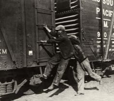 Walker Evans  Young men hopping a train for a ride. 1936. Vintage gelatin silver print. 14 x 15,9 cm