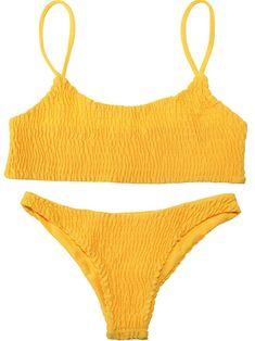 f78b7607c4f13b Amazon.com  TecUnite Sexy Solid Color Shirred Halter Bikini Swimsuit for  Women Favors