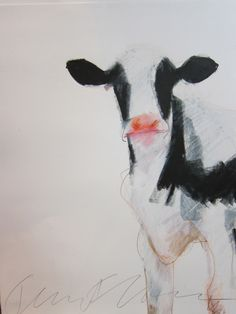 "Saatchi Online Artist: Jeanne Goodman; Colored Pencils, Drawing ""cow on right"""