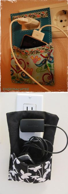 Pinterest vs Reality: Charger Wall Pocket Sewing Tutorial The original pin was in Swedish, so I figured out how to make it and did a tutorial in English!