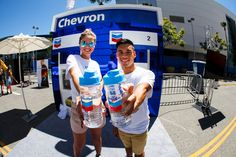The Chevron activation featured a backlit mini gas station with custom-designed gas pumps that distributed water into branded bottles.