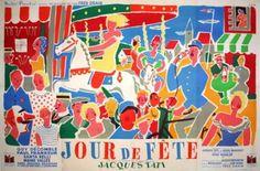 """JACQUELIN . Affiche de film -  """"Jour de Fête"""" de Jacques Tati"""
