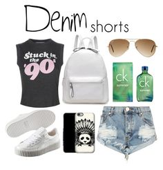 """""""summer short"""" by candynena228 ❤ liked on Polyvore featuring Wildfox, Puma, One Teaspoon, Ray-Ban, Calvin Klein, jeanshorts, denimshorts and cutoffs"""