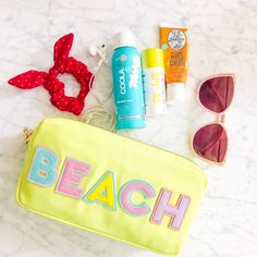 """Stoney Clover Lane on Instagram: """"Let's go to the beach, beach 🌴"""" Creative Photos, Creative Ideas, What In My Bag, Photo Illustration, Preppy, Sunglasses Case, Birthday Gifts, Patches, Pouch"""