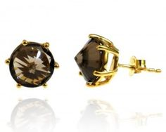 Fadkart Exxotic Rajwada Fashion Gold Plated 925 Sterling Silver Smoky Quartz Earring