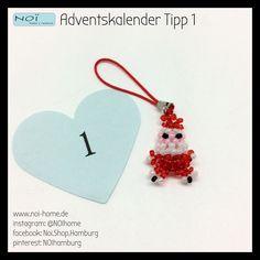 #Adventskalender Tipp 1: Kleiner #Santa aus Perlen. Ein witziger #Anhänger für die Handtasche, den Schlüssel oder am #Mobilphone. #NOIhome