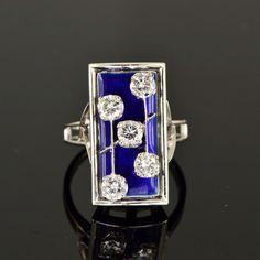 Art Deco gorgeous diamond and blue enamel Cusi ring by AntiqueVelvetGloves on Etsy https://www.etsy.com/listing/208348388/art-deco-gorgeous-diamond-and-blue