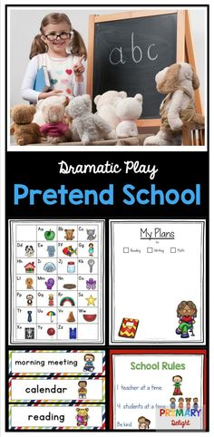 Pretend School Dramatic Play Center Let your preschool or kindergarten students be the teacher in this pretend school. It includes everything you need: charts, posters, schedule, calendar, shared reading and flashcards. Dramatic Play Themes, Dramatic Play Area, Dramatic Play Centers, School Play, School Teacher, Pre School, Middle School, School Stuff, High School