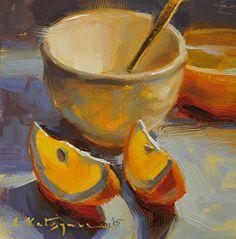 Cup and Orange Slices by Elena Katsyura Oil ~ 6 x 6