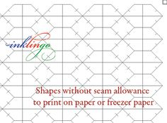 Inklingo shapes without seam allowances make it easy to make your own precise templates for English Paper Piecing too. All About Inklingo blog.