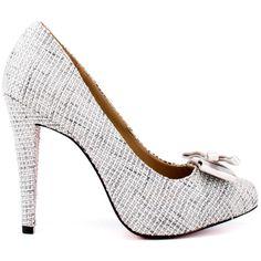 Paris Hilton Women's Kylie - Silver Linen (€66) ❤ liked on Polyvore featuring shoes, pumps, silver, silver bow pumps, bow pumps, silver shoes, gray pumps and bow shoes
