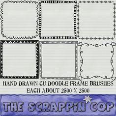 Free doodle frames, PNG.
