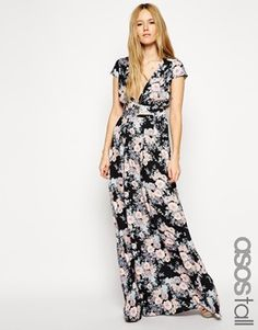 ASOS TALL Exclusive Floral Maxi With Wrap Front