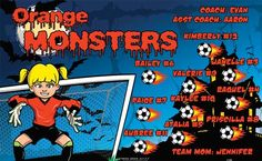 Monsters-Orange-151894 digitally printed vinyl soccer sports team banner. Made in the USA and shipped fast by BannersUSA. www.bannersusa.com