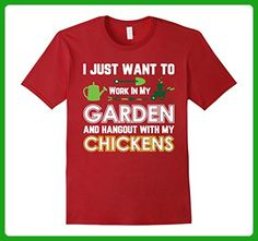 Mens Gardening Shirt Work In Garden And Hang Out With Chickens Small Cranberry - Workout shirts (*Amazon Partner-Link)