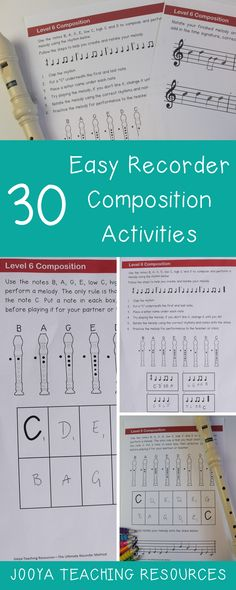 30 Easy Recorder Composition activities for kids. Use these printable, ready to go elementary music recorder composition lesson to inspire creativity in all young musicians from the beginner to advanced student. There are 30 different worksheets to use to keep your recorder students busy all year long.