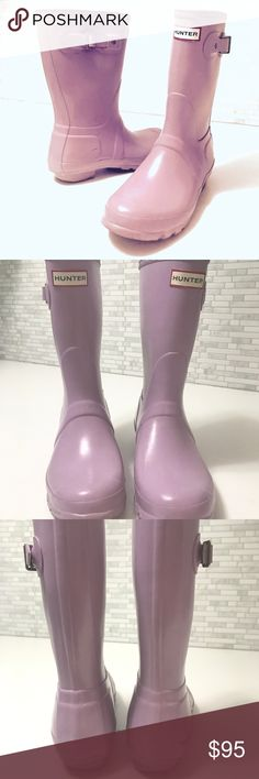 Hunter Boots Gloss Short Lavender Rain Boots Hunter Boots Original Gloss Short Lavender Rain Boots size 7 preowned signs of normal wear see photo perfect for spring!!! Hunter Boots Shoes Winter & Rain Boots