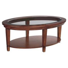Oval Wood Coffee And Cocktail Table With Glass