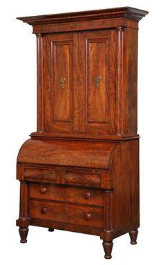 c1830 Classical Empire secretary, exceptional fine figured mahogany, cylinder desk..