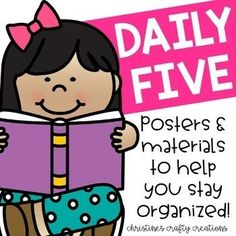 These Daily Five Materials are a great way to stay organized! This file come with Daily five posters for: word work, work on writing, read to self, read to someone, listen to reading, and teacher time. You can set up your rotations using mini card sets, posters, or