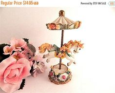 Carousel Horse Figurine Victorian Floral by SpringJewelryThings