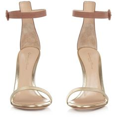 Gianvito Rossi Portofino suede and leather sandals ($660) ❤ liked on Polyvore featuring shoes, sandals, retro shoes, pink sandals, metallic gold sandals, floral print sandals and double-strap sandals