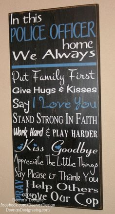 Law Enforcement Wife, Police Decor, Distressed Wall Decor, Custom Wood Sign, Thin Blue Line - Police Officer House Rules - Thin Blue Line